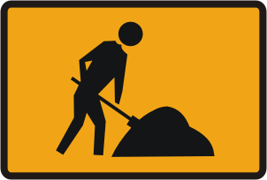 Workmen ahead sign