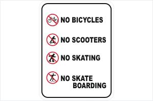 No Bicycles No Scooters No Skating No Skateboarding