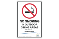 TAS No Smoking in outdoor dining areas sign