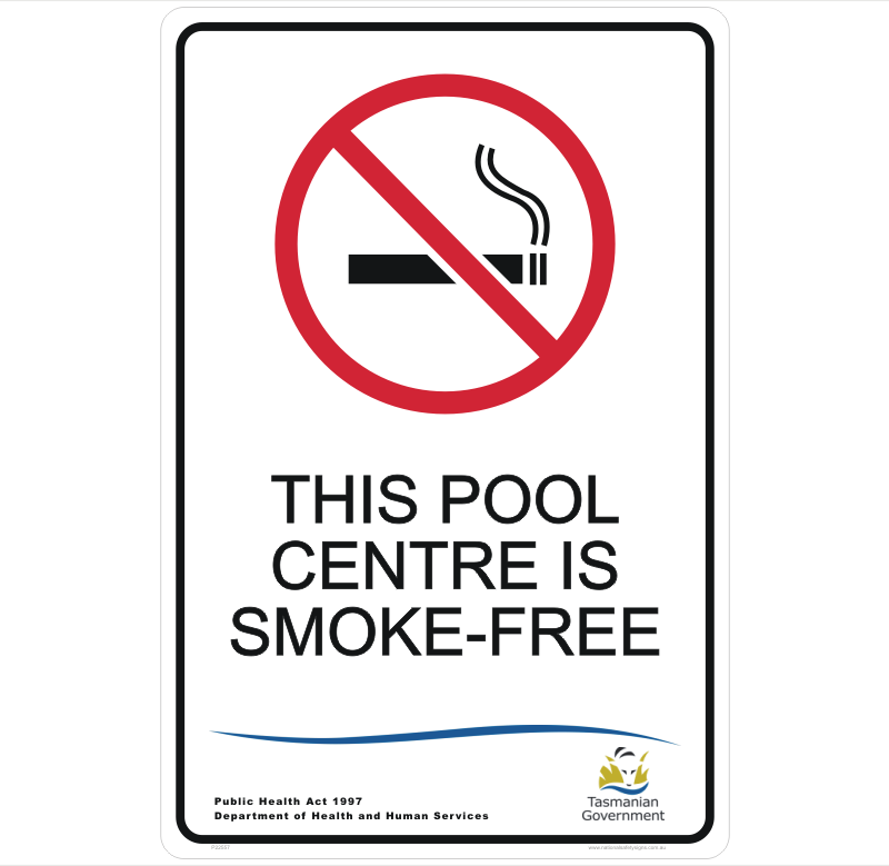 TAS This pool is Smoke Free sign