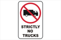 Strictly No Trucks Sign
