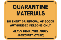 Quarantine Materials sign