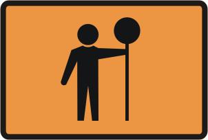 Prepare to stop fluro orange sign
