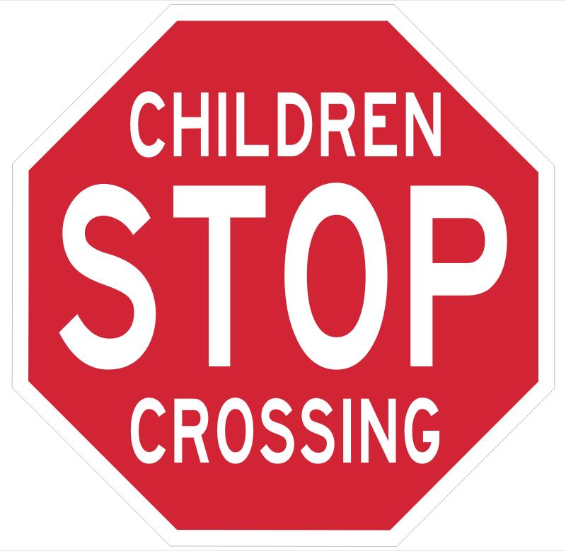 Stop Children Crossing sign