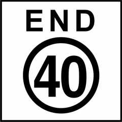 End 40 KPH Sign
