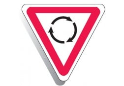 Roundabout Triangle sign 750mm High R1-3