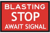 Blasting stop sign