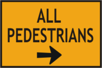 pedestrian signs with right arrow.