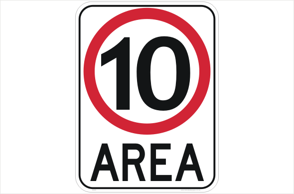 10kph Area sign