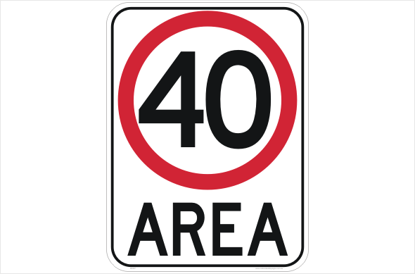 40 kph area sign