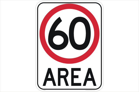 60kph area sign