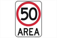 50kph area sign