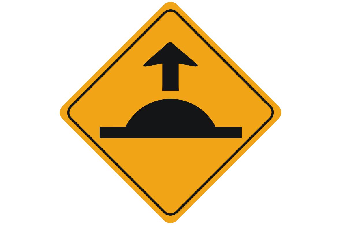 speed hump ahead sign
