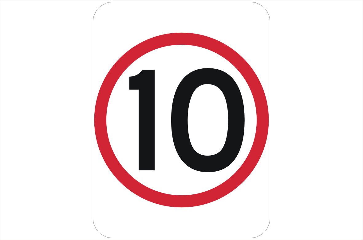 10 Kph Sign Speed Restriction Signage Traffic Signage