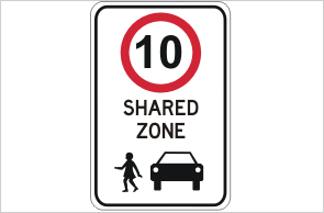 Shared zone 10KPH sign