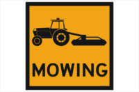 Mowing ahead sign