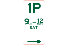 Regulatory parking sign 1 hour