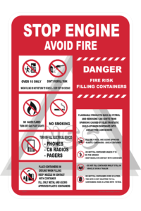 Stop engine avoid fire sign