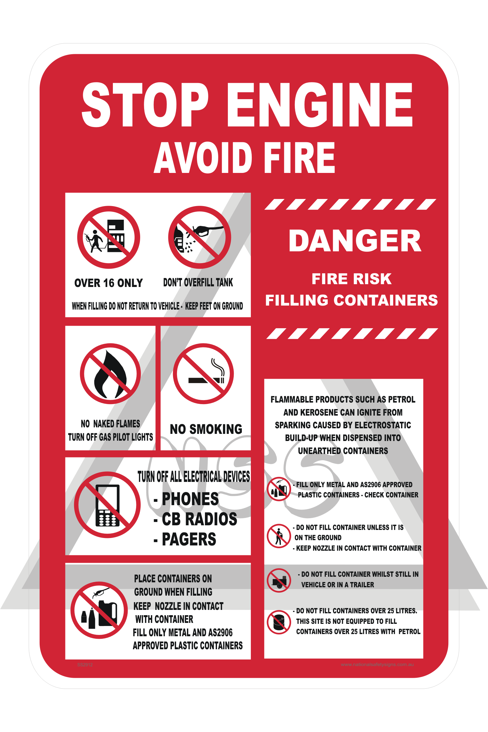 Stop Engine Avoid Fire Sign Ss2912 National Safety Signs