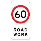 60kph Road work Sign
