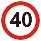 40kph Roadwork Speed Limit Square sign