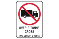 Max 2 Tonne on Road sign