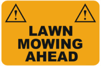Lawn Mowing Ahead sign
