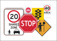 Road and Traffic Signs and Road Work Signs