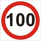 100kph Roadwork Speed Limit Square sign