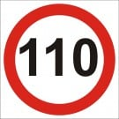 110kph Roadwork Speed Limit Square sign