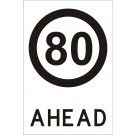 80 ahead sign