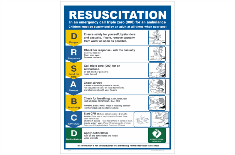 Pool Resuscitation Sign
