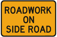 Roadworks on Side Road Sign