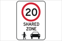 Shared Zone 20 KPH Sign