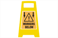 Workers Below Porta Board sign