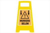 Workers Below Porta Board sign