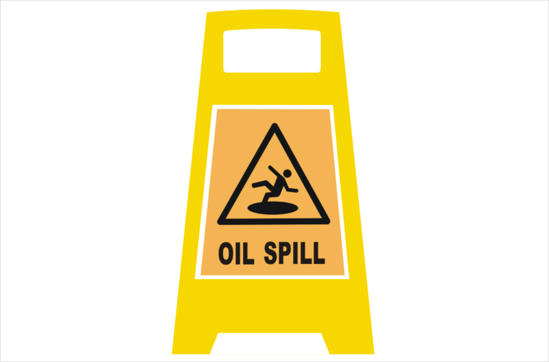 Oil spill Porta Board sign