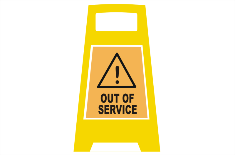 Out of Service Porta Board sign