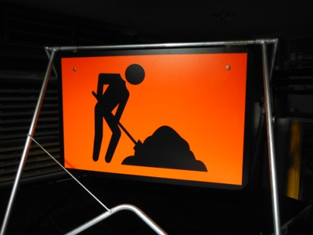 Workmen Ahead sign Fluro sign
