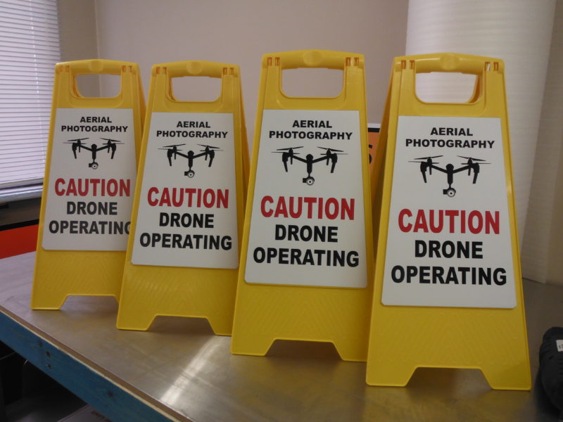 Drone warning portable Sign