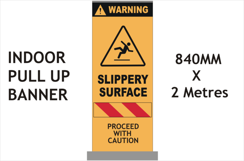 Slippery floor warning banner