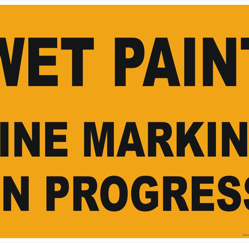 Road Line Marking in Progress Sign