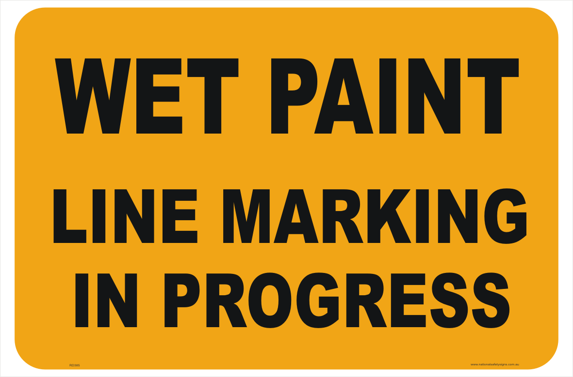 Road Line Marking in Progress Sign