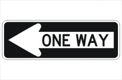 One Way Arrow Left sign