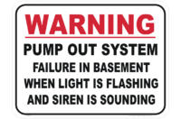 Basement pump out system sign