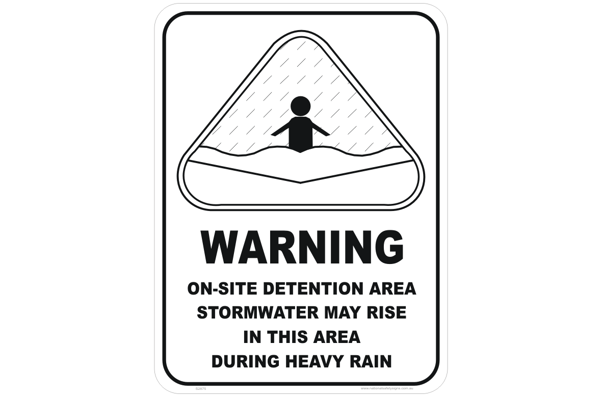 onsite stormwater detention area sign