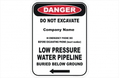 Low Pressure water pipe sign