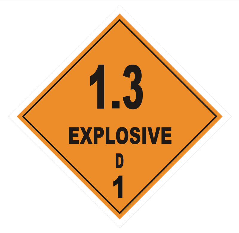 Class1 Div 1.3 D Explosive sign