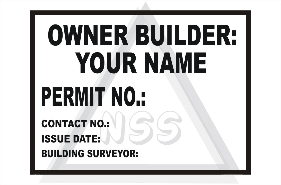 Owner Builder site sign