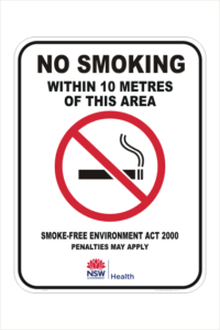 NSW no smoking within 10 metres sign
